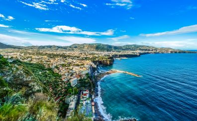 Amalfi, coastal city, sea, aerial view
