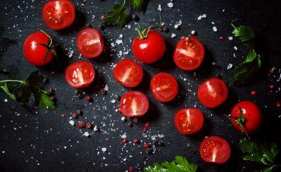Tomato, vegetables, leaves, spices, kitchen, 4k