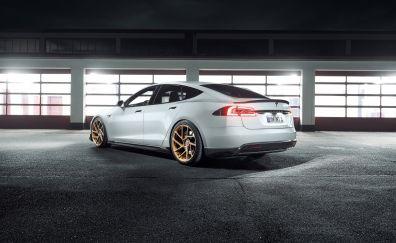 Tesla model S, novitec, rear, 4k