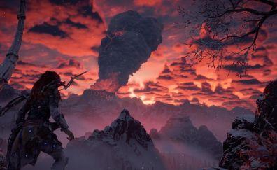 Horizon zero dawn, aloy, volcano, eruption