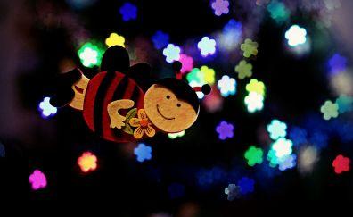 Bee, bokeh, decorations lights