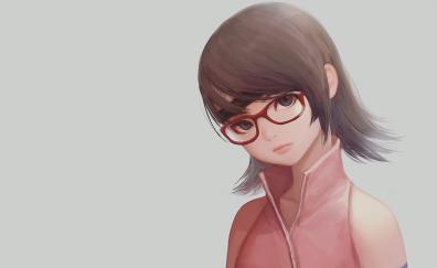 Red Glasses, anime girl, Sarada Uchiha