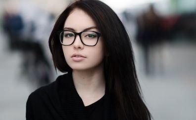 Beautiful, brunette, girl glasses