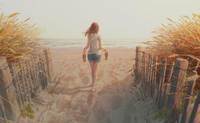 Sand, beach, fence, anime girl, art
