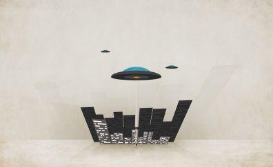 UFO alien abduction minimal wallpaper