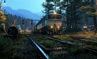Train, railroad, night, art