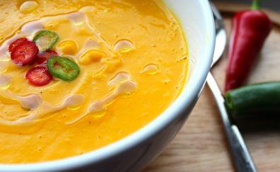 Soup, cream, sour, cream, pumpkin, chilli, pepper