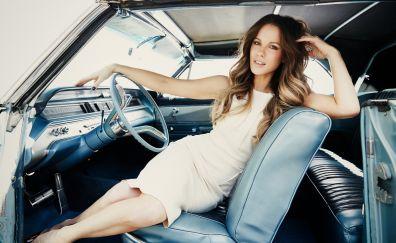Car, drive, Kate Beckinsale, brunette