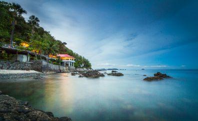 Resort, beach, holiday, sea, skyline