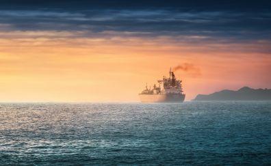 Ship, sea, sunset, yellow skyline