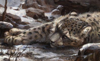 Snow leopard, animal, lying, art