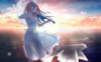 Kaori Miyazono, anime girl, playing violin, dove