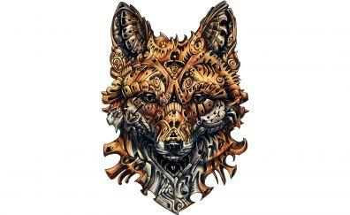 Wild fox muzzle, artwork, 4k