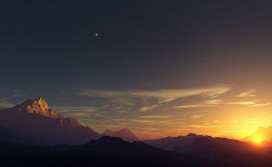 Early Morning, sunrise, mountains, stars, nature, landscape, horizon