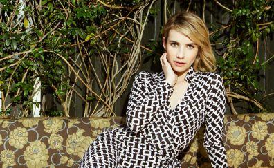 Emma Roberts, sitting, blonde actress, celebrity