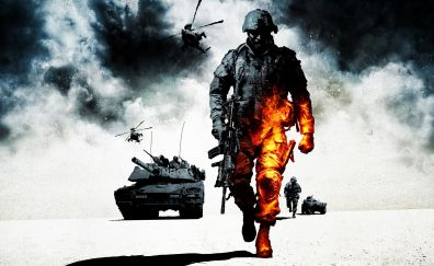 Battlefield: Bad Company 2, video game, solider, tanks