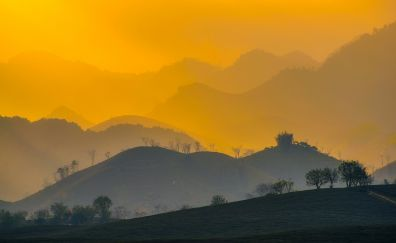 Vietnam sunrise, dawn, morning, mountains, horizon