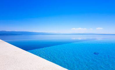 Blue sea, tropical beach, skyline