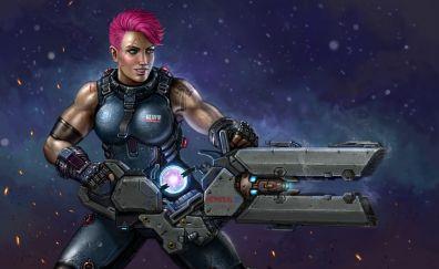 Zarya, overwatch, video game, big gun, girl