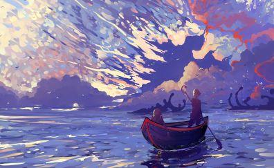 Fantasy art of boat, couple, nature