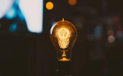 Light bulb, night, bokeh, lights