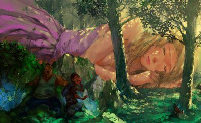 Giant girl, fantasy artwork