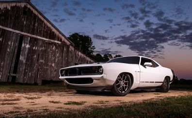Plymouth Barracuda classic car, muscle car, front view