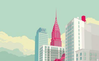 Digital art of new york, city, buildings, skyscrapers