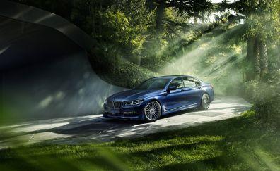 BMW 7 Series, luxury car, blue car, garden, 4k