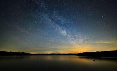 Milky way, lake, landscape, stars, night