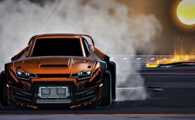 Orange car, Rocket League video game