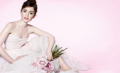 Lily Collins in pink dress