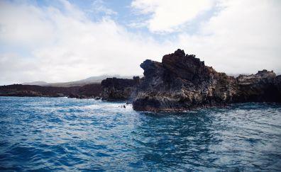 Sea coast, cliffs, blue sea