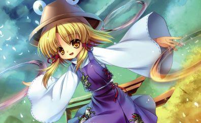 Suwako Moriya, Touhou, happy anime girl, walk