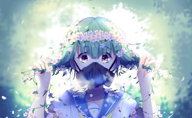 Flowers crown, mask, anime girl