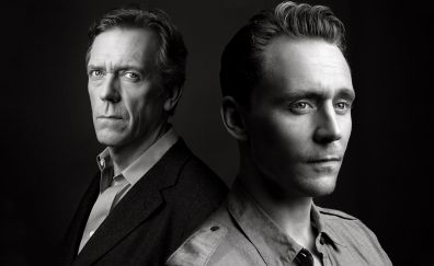 The Night Manager TV show, Hugh Laurie, Tom Hiddleston, monochrome