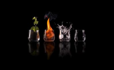 The elements earth fire, water, air, drinks om glasses