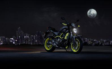Yamaha MT-07 motorcycle, night, moon