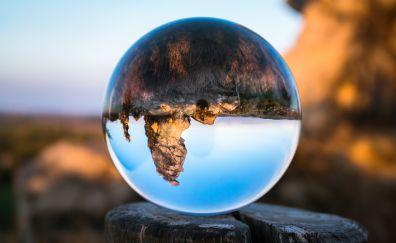 Koenigstein bowl glass tree stump reflection mountains