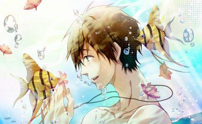 Fish, anime boy, Makoto Tachibana