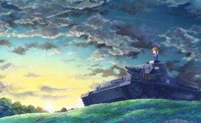 Anime girl, clouds, tank, original