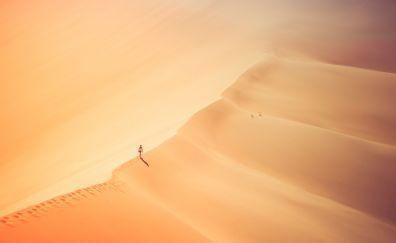 Girl, aerial view, desert, alone, 5k