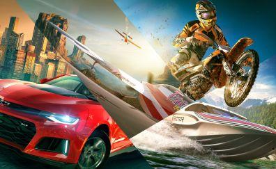 The Crew 2, video game, bike, cars, 8k
