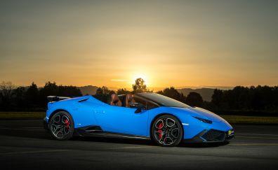 Lamborghini Huracan, blue sports car
