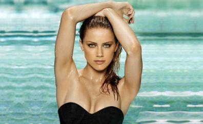 Beautiful Hot Amber Heard in swimming pool, wet hair