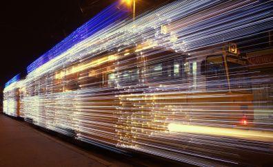Tram lights, night