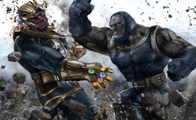 Darkseid and Thanos fight