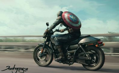 Captain American, Avengers, riding, bike, fan art