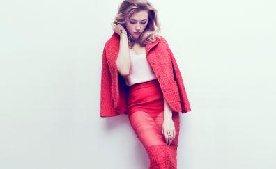 Scarlett Johansson, red dress, blonde