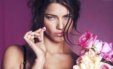 Adriana Lima, victorias secret angel, girl, pink portrait